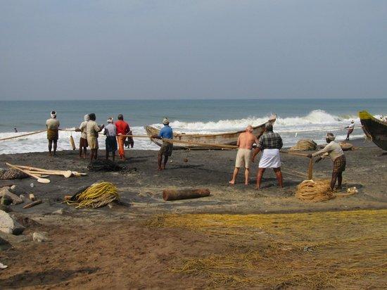 Varkala Beach: Fischer am Odayam-Beach