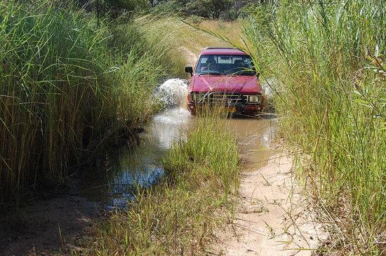 Matobo National Park : Water hazard on a Matopos road!