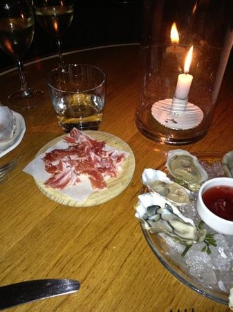 The Ivyhouse Dining Room and Bar:                   Our delicious oysters and Serrano ham