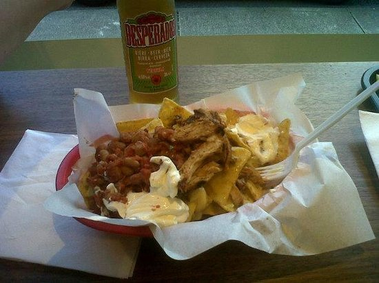 Zapatista Burrito Bar:                                     My Meaty Nachos and depserado