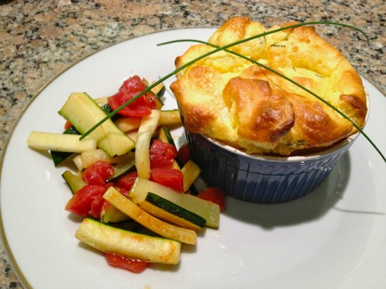 Napoleon's Retreat Bed & Breakfast: Cheddar and chive souffle with zucchini fresh from the garden