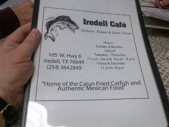 Iredell Cafe:                   Not a catfish person?  No problem - a nice menu