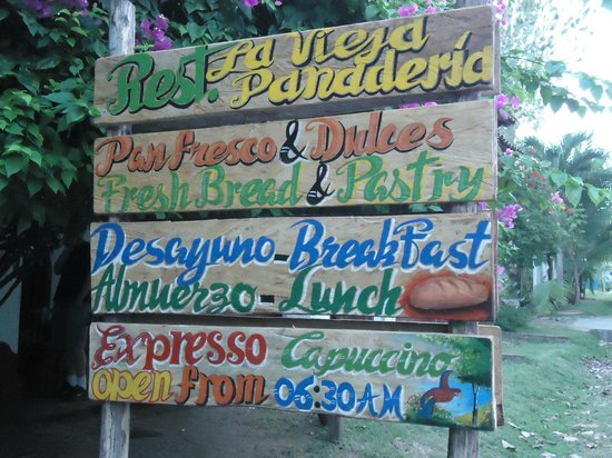 lavija panaderia:                   sign in front of bakery/restaurant