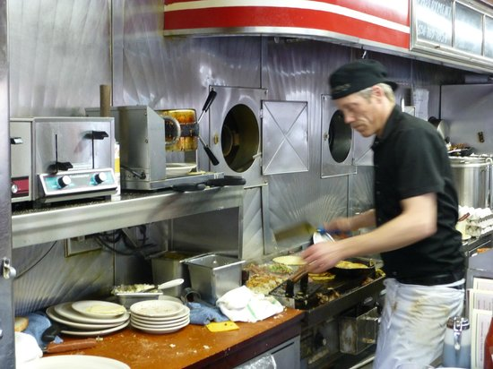 Mickey's Diner : Working hard on the diner's grill