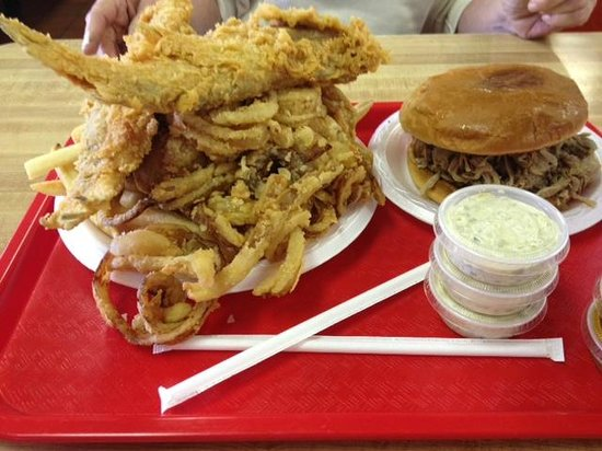 Catfish, pulled pork at the Beacon Drive in