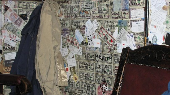 The Brazen Head:                   Walls are covered with money from all over the world