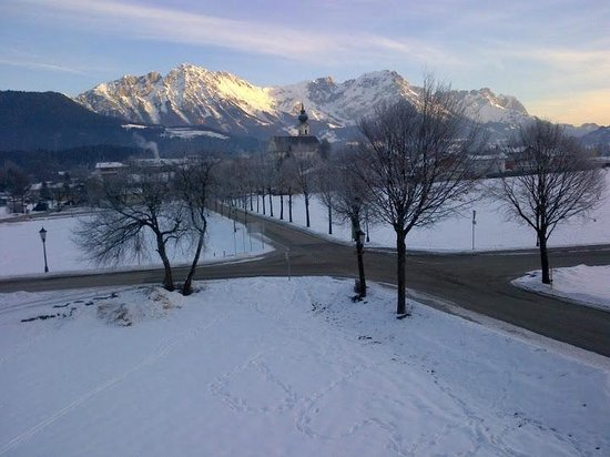 Pension Edelweiss:                   View from 2nd floor towards centre (100 metres) & some mountains beyond