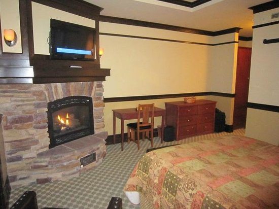 Lake View Hotel:                   Fireplace and tv