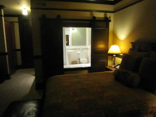 Lake View Hotel:                   Sliding bathroom doors