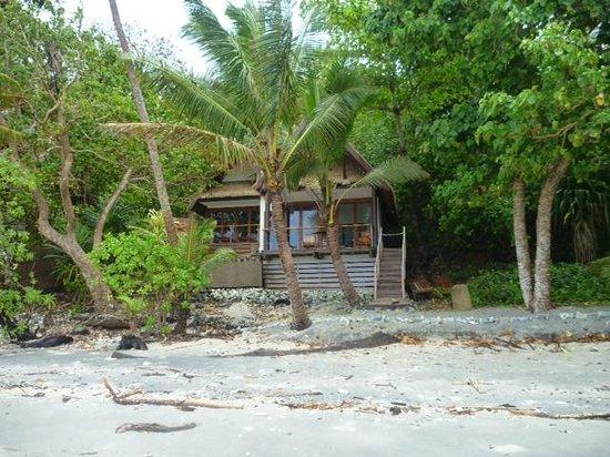 Royal Davui Island Resort, Fiji:                   Looking from beach to Villa 5
