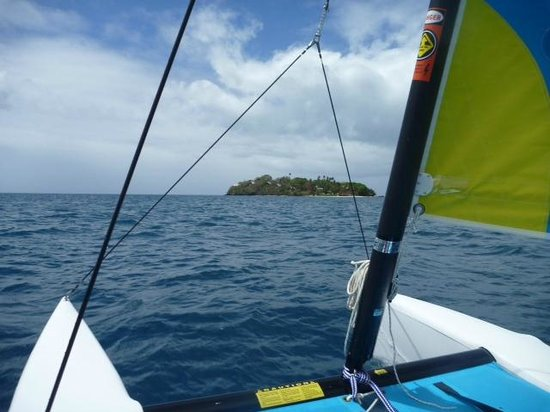 Royal Davui Island Resort:                   Sailing looking back at Davui