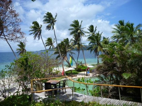 Royal Davui Island Resort:                   From bar down to pool and main beach