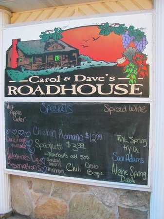 Carol and Dave's Roadhouse:                   Menu for 1/29/2013