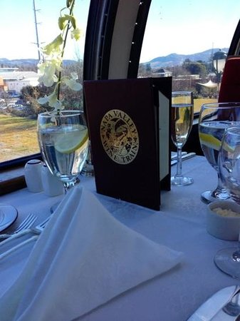 Napa Valley Wine Train: Looking out window from the View Dome