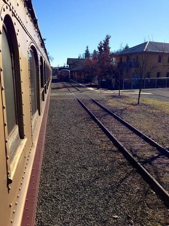 Napa Valley Wine Train: Looking at the engine switch for the return trip from St. Helena to Napa