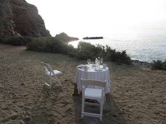 Terranea Resort: Somebody had a romantic dinner by the beach last night.