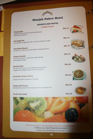 Sharjah Palace Hotel: menu