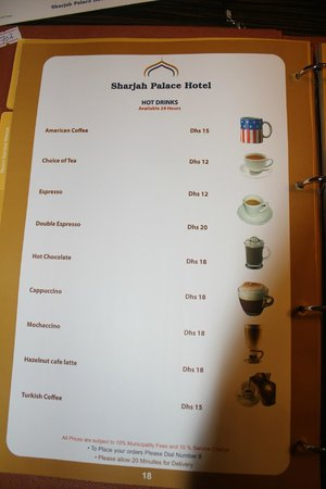 Sharjah Palace Hotel: in room menu