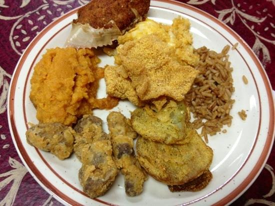 Brown's Country Store & Restaurant: Southern Fried Heaven--stuffed crab, Trace Creek Potatoes, fried green tomatoes, catfish, and ch