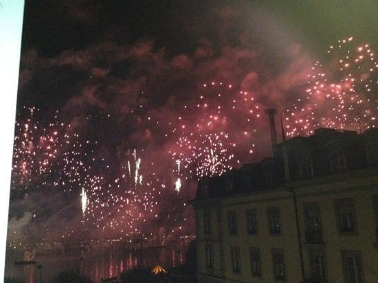 Grand Hotel Kempinski Geneva:                   fireworks from balcony