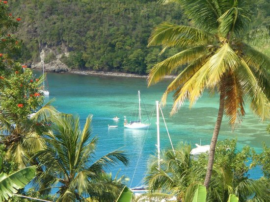 Marigot Palms Luxury Caribbean Guesthouse and Apartments:                   Peaceful view of the beautiful blue water.