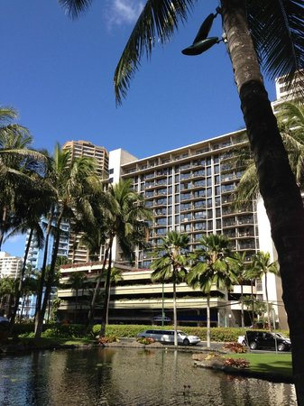 Aqua Palms Waikiki:                   View of Aqua Palms from across the street where Hilton Hawaii Village is.