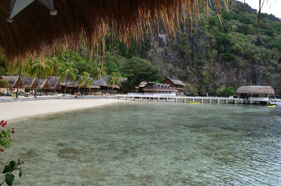El Nido Resorts Miniloc Island :                   Beach -  view from water cottage