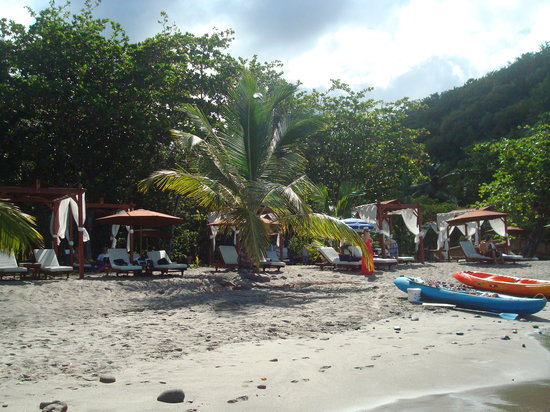 Ti Kaye Resort & Spa:                   Ti Kaye beach (Anse Cochon) with nice cushiony beach chairs with drink service