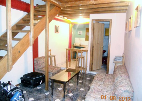 Los Aticos: Our room, first floor is living room, bathroom, kitchen