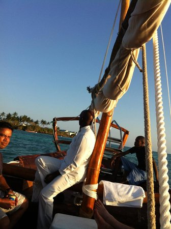 The Residence Zanzibar: Our lovely server on traditional boat