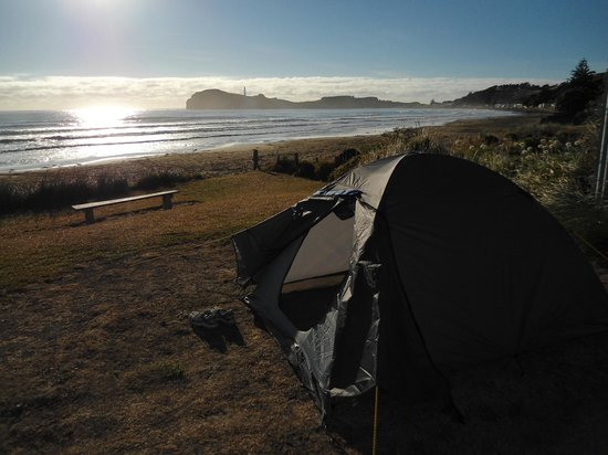 Castlepoint Holiday Park and Motels :                   Our tent site on the beach front