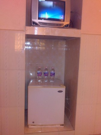 Bou Savy Guest House: Fridge and TV in the room