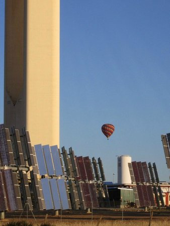 Central de energía solar:                   We were lucky enough to see a hot air balloon ascending over the installations