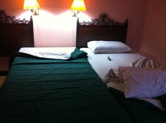 Don Felipe Hotel:                   I connected the small beds so I won't fall
