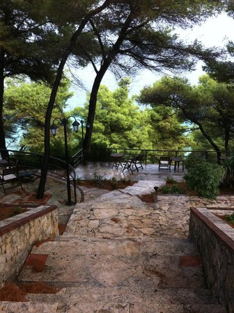 Nostos Hotel:                   woodland path down to beach