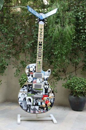 Sunset Marquis: Guitar in path outside recording studio