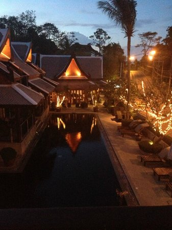 Baan Yin Dee Boutique Resort:                   View from our balcony over pool at night restaurant at the end               