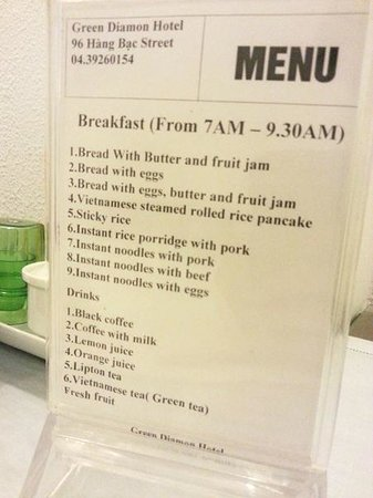 Green Diamond Hotel: Breakfast menu