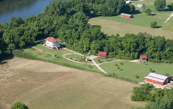 Riverside Retreat On The White River: Aerial photo of resort property - White River on left