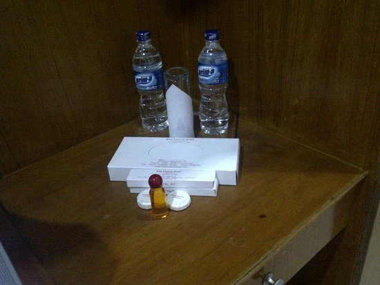 Riez Palace:                                     only 2 bottles mineral water with toiletries