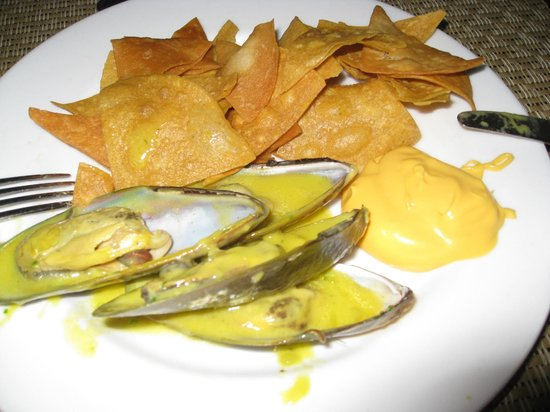 Catalonia Bavaro Beach, Casino & Golf Resort:                                     Mussels and nachos... lunch of champions!
