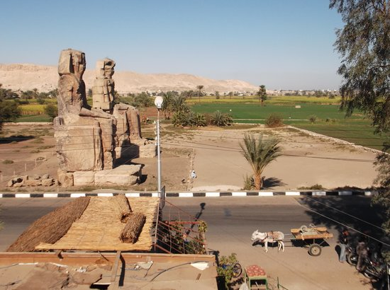 Dreams of Memnon :                   View of the colossus from flat above restaurant