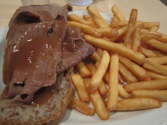 At The Crossroads Family Restaurant Ltd.:                   Hot Beef Sandwich on gluten free bread.