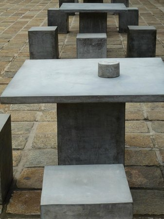 Dutch Hospital Ping Precinct Polished Cement Tables And Chairs