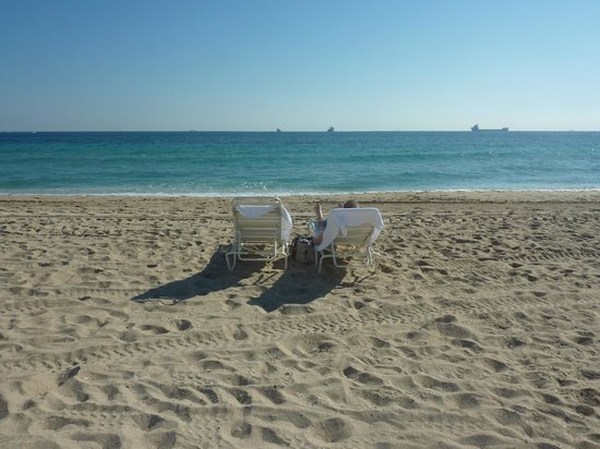The Aqua Hotel:                   Beach with chair you can rent for 10 bucks