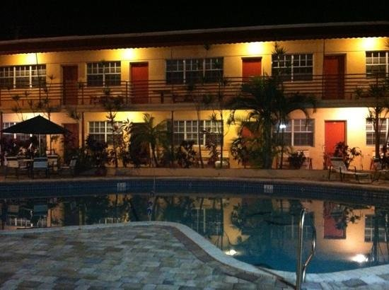 Beach and Town Motel:                   poolside at night