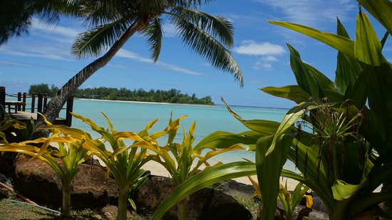 Muri Beachcomber:                   Der Blick von unserer Terrasse auf den Muri Beach
