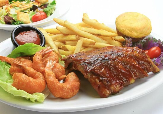 Whiskey Creek Wood Fire Grill: Shrimp and Ribs Combo