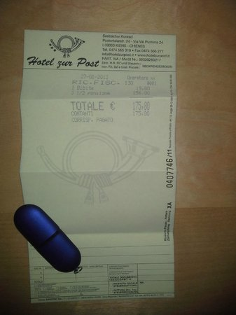 Hotel zur Post:                   Bill / Check