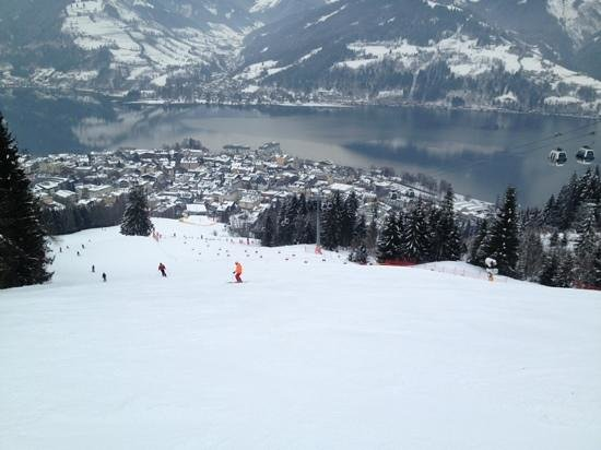Hotel Tirolerhof:                   Looking down on Zell and the lake